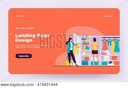 Two Women Choosing Clothes For Travel From Wardrobe. Apparel, Dress, Baggage Flat Vector Illustratio