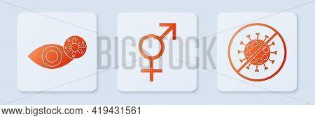 Set Gender, Reddish Eye Due To Virus And Stop Virus. White Square Button. Vector
