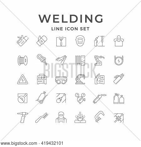 Set Line Icons Of Welding Isolated On White