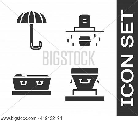 Set Coffin, Umbrella, Coffin With Dead And Grave With Coffin Icon. Vector