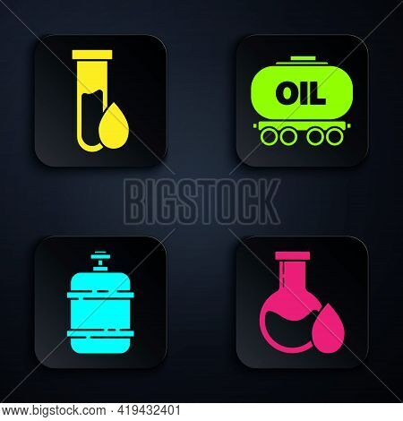 Set Oil Petrol Test Tube, Oil Petrol Test Tube, Propane Gas Tank And Oil Railway Cistern. Black Squa