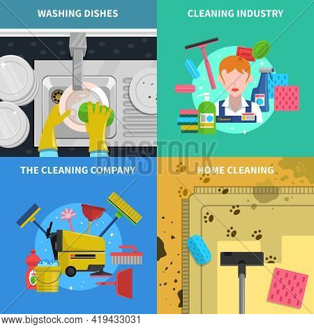 Cleaning Concept Icons Set With Home Cleaning And Cleaning Industry Symbols Flat Isolated Vector Ill
