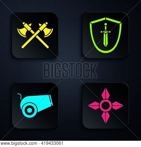 Set Japanese Ninja Shuriken, Crossed Medieval Axes, Cannon And Medieval Shield With Sword. Black Squ