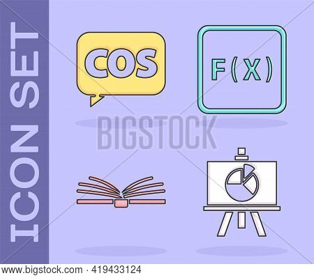 Set Chalkboard With Diagram, Mathematics Function Cosine, Open Book And Function Mathematical Symbol