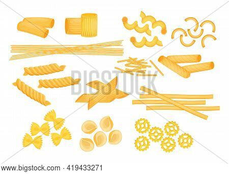 Different Types Of Italian Pasta Flat Vector Illustrations Set. Raw Macaroni, Penne, Farfalle, Ziti,
