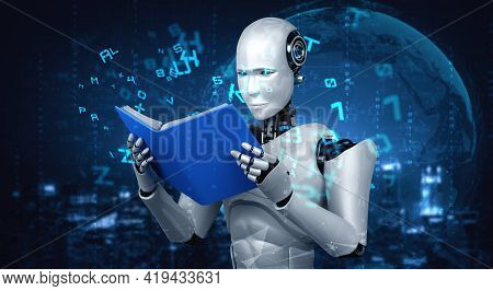 3d Illustration Of Robot Humanoid Reading Book In Concept Of Future Artificial Intelligence And 4th