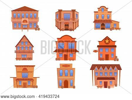 Western Wooden Buildings Vector Illustrations Set. Old Traditional Houses, Pubs, Taverns Or Saloons
