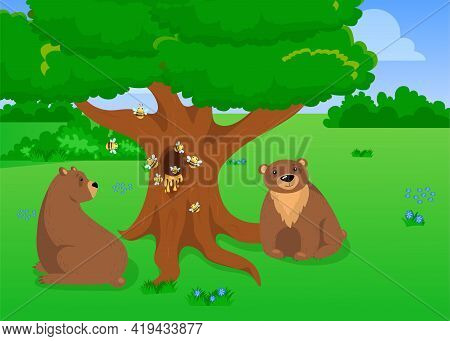 Two Grizzly Bears Sitting Near Tree With Beehive. Cartoon Vector Illustration. Cute Wild Bears Relax