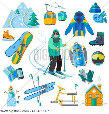 Ski Resort Icons Set With Winter Sport Equipment Isolated Vector Illustration