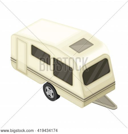 Caravan Or Travel Trailer As Home During Journey Or Vacation Isometric Vector Illustration