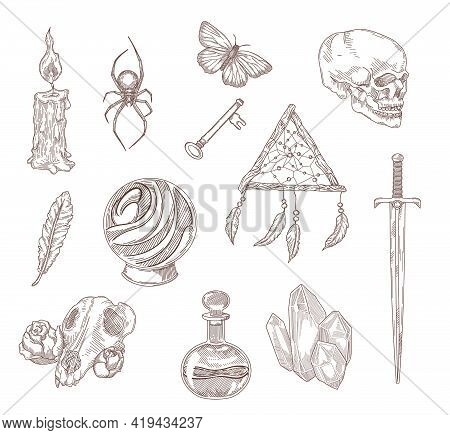 Spooky Gothic Symbols Engraved Illustrations Set. Hand Drawn Sketch Of Medieval Black Magic Elements