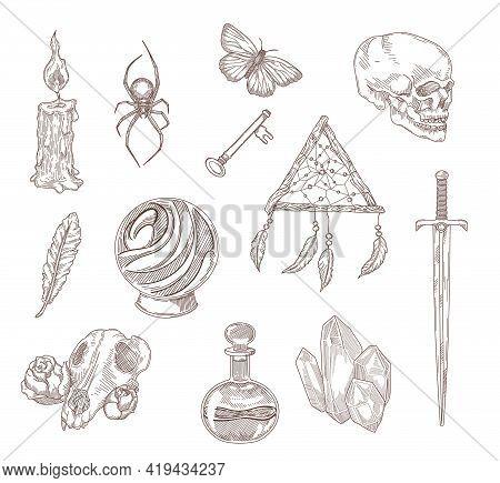 Spooky Gothic Symbols Engraved Illustrations Set. Hand Drawn Sketch Of Medieval Black Magic Elements