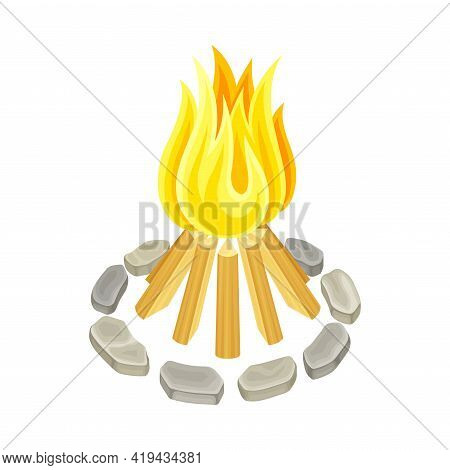 Campfire With Fire Ring Of Stones And Firewood Isometric Vector Illustration