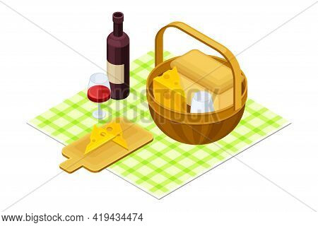 Wicker Basket Rested On Checkered Tablecloth With Wine Bottle And Cheese Slab As Picnic Isometric Ve