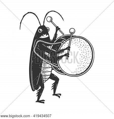 Cartoon Cockroach Orchestra Playing The Large Drum Sketch Engraving Vector Illustration. T-shirt App