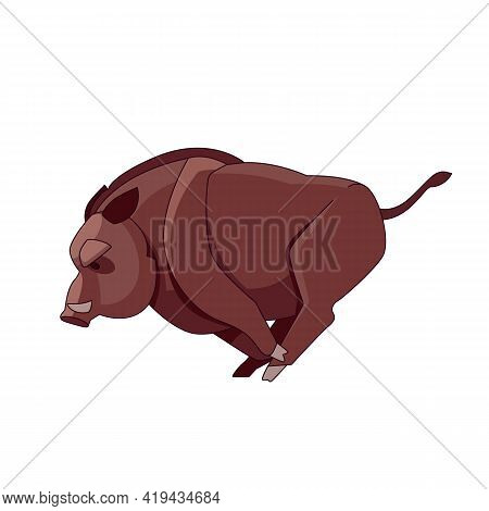 A Wild Boar Runs And Attacks. Cartoon Character Of An Evil Mammal Animal. A Wild Forest Creature Wit