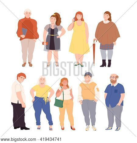 People Characters With Corpulent Body In Standing Pose Vector Illustration Set