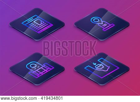 Set Isometric Line Obituaries, Grave With Tombstone, Location Grave And Coffin In. Blue Square Butto