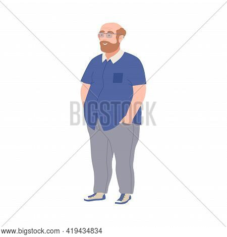 Bald And Bearded Man In Glasses With Corpulent Body In Standing Pose Full Length Vector Illustration
