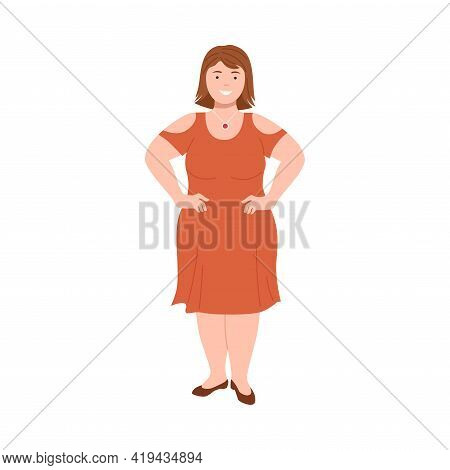 Short-haired Woman Character With Corpulent Body In Standing Pose With Arms Akimbo Full Length Vecto