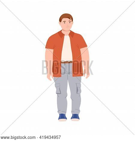 Young Man Character With Corpulent Body In Standing Pose Full Length Vector Illustration