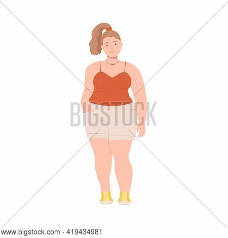 Woman Character With Ponytail Having Corpulent Body Wearing Shorts Standing Full Length Vector Illus