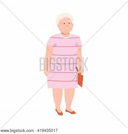 Senior Woman Character With Grey Hair Having Corpulent Body In Standing Pose Full Length Vector Illu
