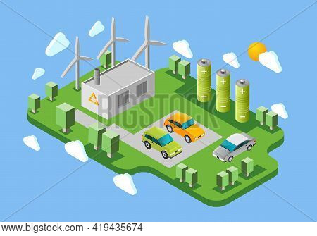 Electric Cars Public Charging Station Isometric Banner With Green Energy Facilities And Battery Swap