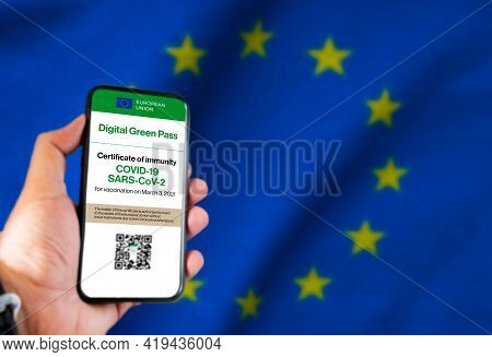 The Digital Green Pass Of The European Union With The Qr Code On The Screen Of A Mobile Held By A Ha