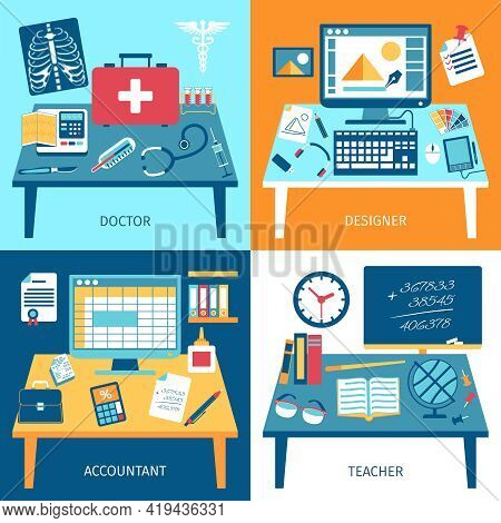 Workspace Design Concept Set With Doctor Designer Accountant And Teacher Rooms Isolated Vector Illus