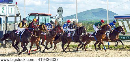 Pyatigorsk,russia - May 2,2021:start Horse Race For Of The Tagora Prize Of Pyatigorsk Hippodrome,nor
