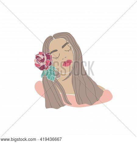 Beautiful Woman Flower Wreath Drawn, Great Design For Any Purposes. Young Lady Portrait. Nature Illu