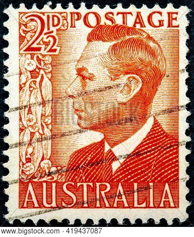 Australia - Circa 1950: A Used Postage Stamp From Australia Depicting A Portrait Of King George Vi C