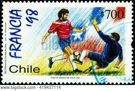 Chile - Circa 1998: Canceled Postage Stamp Printed By Chile, Shows Two Soccer Athletes From The Seri