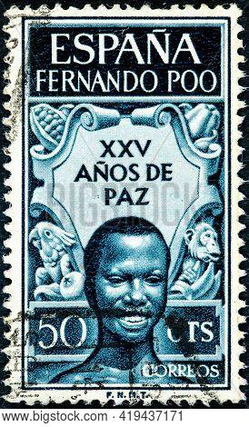 Spanish Fernando Poo - Circa 1961: Canceled Postage Stamp Printed By Spain With Inscription Fernando
