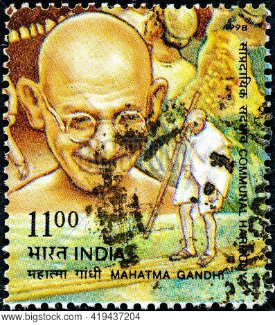 India - Circa 1998: Canceled Postage Stamp Printed By India, Stamp In Which His Image Appears From A