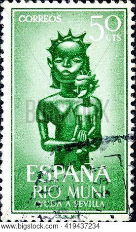 Spanish Rio Muni - Circa 1961: Canceled Postage Stamp Printed By Spain With Inscription Rio Muni, Fr