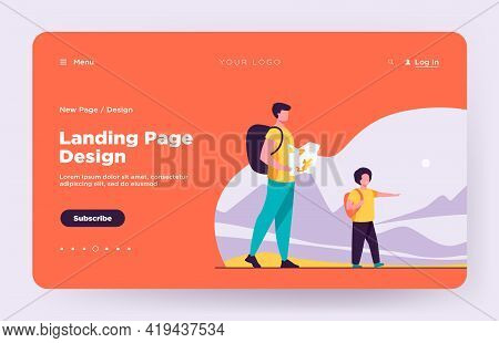 Dad And Son With Backpacks Walking Outdoors. Tourists With Map Trekking In Mountains Flat Vector Ill
