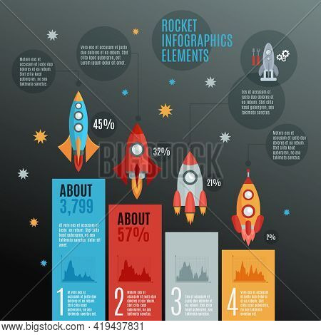 Rockets And Launch Infographic Set With Repairs Models And Space Flat Vector Illustration