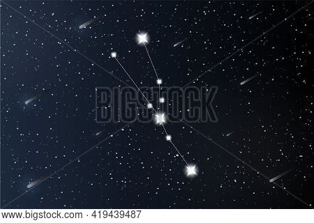 Taurus. Zodiac Constellation On Outer Space Background. Mystery And Esoteric. Horoscope Vector Illus