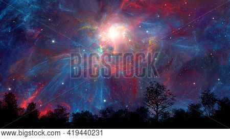 Space Background. Tree, Landscape Black Silhouette In Colorful Fractal Nebula With Stars Field. Digi