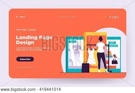 Customer Buying Cloth On Internet Store. Women Using Gadget For Online Shopping Flat Vector Illustra