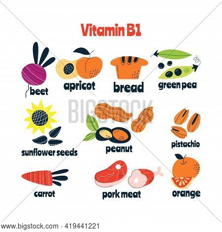 Vitamin B1 Main Food Sources Cabbage, Fish, Avocado. Vector Illustration In A Hand-drawn Style. Perf