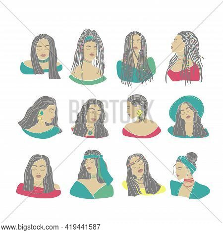 Boho Woman Set Drawn In Trendy Style. Abstract Woman Portrait. Woman Face. Vector Concept. White Bac