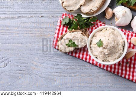 Lard Spread Served With Bread On Light Grey Wooden Table, Flat Lay. Space For Text