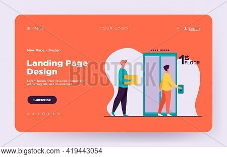 People Standing On First Floor And Calling Elevator. Hall, Courier, Dweller Flat Vector Illustration