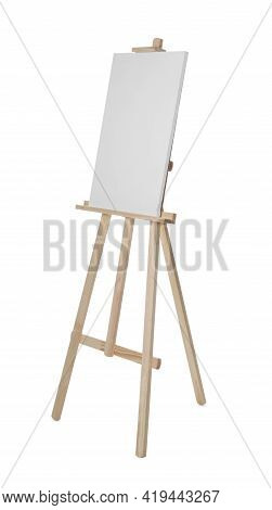 Wooden Easel With Blank Sheet Of Paper Isolated On White