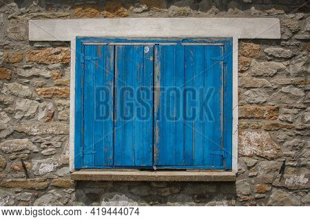 A Blue Wooden Traditional Turkish Window - Closed - Shut