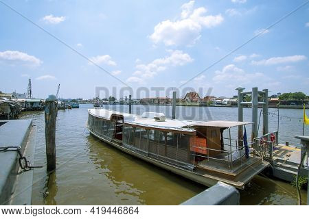 Beautiful Landscape, The Chao Phraya River And The City On Both Sides Of The River Under The Clear S