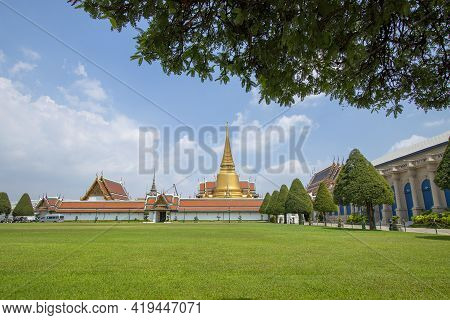 Temple Of The Emerald Buddha Or Wat Phra Kaeo, A Beautiful Religious Attraction In Bangkok In Thaila